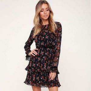 Lulu's | Black Red Floral Tiered Ruffle Mini Dress